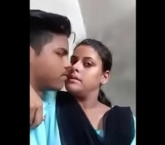 Indian school girl alfresco kissing