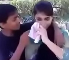 Indian legal age teenager kissing and pressing boobs in public