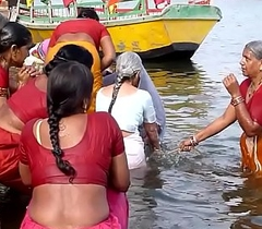 Indian venerable aunties bathing gonga openly. BIG Irritant &_ BOOBS!!!